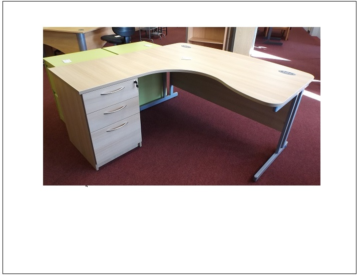 Ex Display Ferrara Oak Bow Front Desk Blandford Office Furniture
