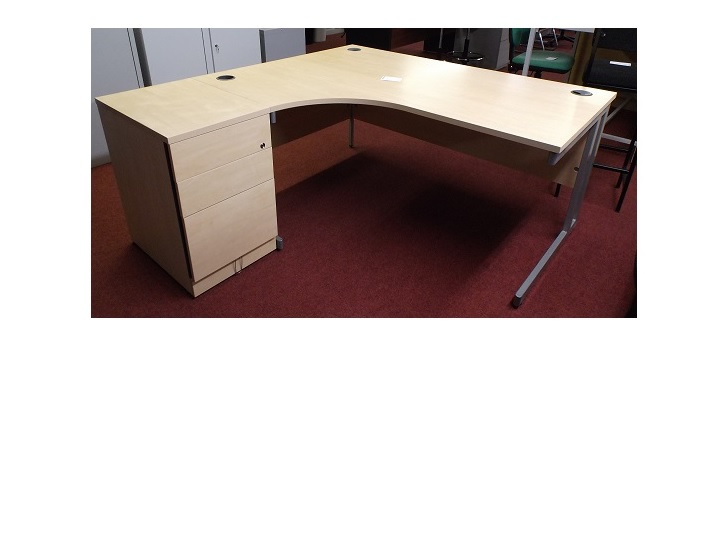 Light Beech Corner Desk And Ped Blandford Office Furniture