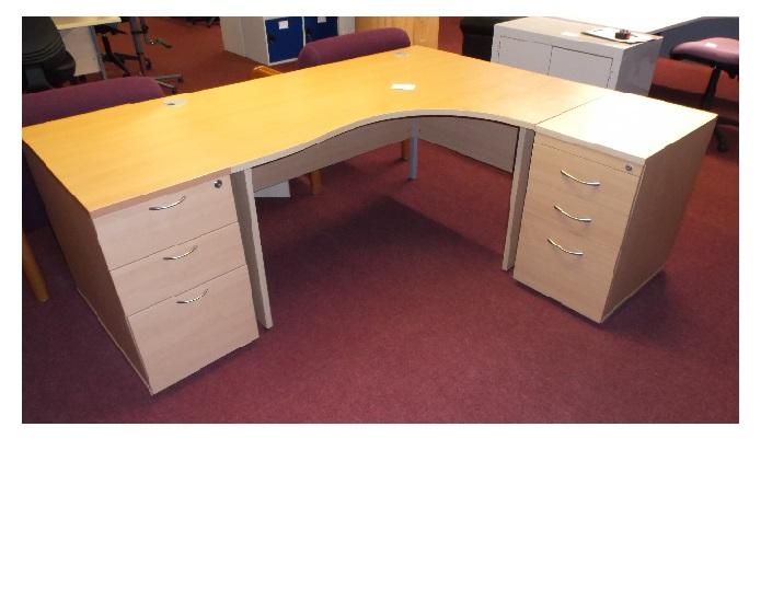 Beech Corner Desk 2 Peds Blandford Office Furniture